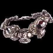 Vintage Silver Tone Metal Large Clear Rhinestone Bracelet