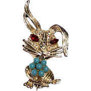 Vintage Gold Tone Bunny Rabbit With Faux Turquoise & Rhinestones