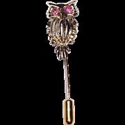 Vintage Gold Tone Metal Owl Stick Pin With Pink Rhinestone Eyes