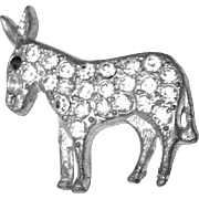 Vintage Silver Tone Metal Rhinestone Donkey Brooch