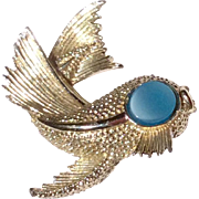 Vintage Silver Tone Metal Fish Brooch With Blue Eye