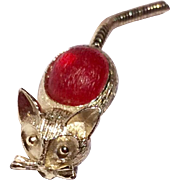 Vintage Gold Tone Metal Cat Brooch With Flexible Tail