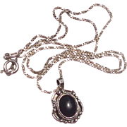 Vintage Sterling Silver Black Onyx Pendant Necklace
