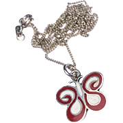 Vintage Sterling Silver Red & Black Enamel Butterfly Pendant Necklace