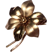 Vintage 12 K Gold Filled Flower Brooch