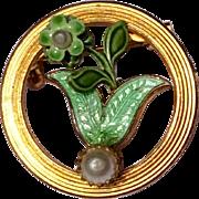 Vintage Gold Tone Metal Green Enamel Faux Pearl Floral Brooch