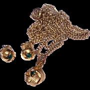 Vintage Gold Tone Metal Green Rhinestone Pendant Necklace & Earrings