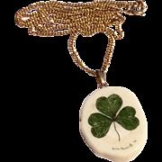 Vintage Gold Filled Chain & Shamrock Pendant Necklace