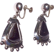 Vintage Large Sterling Silver Black Onyx Dangle Earrings