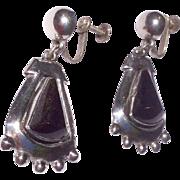 Vintage Large Sterling Silver Black Onyx Dangle Earrings