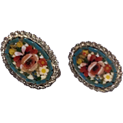 Vintage Silver Tone Metal Micro Mosaic Earrings