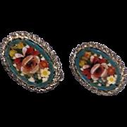 Vintage Silver Tone Metal Micro Mosaic Earrings