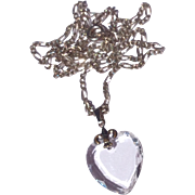 Vintage Sterling Silver Faceted Crystal Heart Shaped Pendant Necklace
