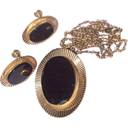 Vintage Van Dell 12 K Gold Filled Black Onyx Earrings & Pendant Necklace