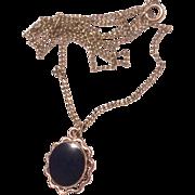 Vintage 12 K Gold Filled Black Onyx Pendant Necklace