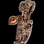 Vintage Silver Tone Metal Poodle Brooch