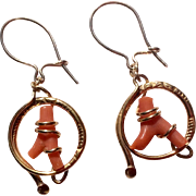 Vintage Gold Filled Branch Coral Earrings