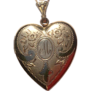 Large Vintage Gold Filled Double Photo Heart Locket