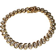 Vintage Gold Gilt Over Sterling Silver Flexible Rhinestone Bracelet