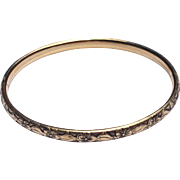 Vintage 12 K Gold Filled Repousse Hinged Bangle Bracelet