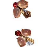 Vintage Van Dell Sterling Silver Genuine Moonstone Ruby Red Rhinestone Fly Earrings