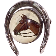Vintage Beau Sterling Silver Essex Crystal Horse Head Horse Shoe Brooch