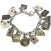 Wonderful Bell Telephone Worker Service Adwards Sterling Silver Charm Bracelet