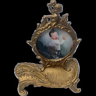 Victorian Cherub Gilt Iron Pocket Watch Holder Picture Frame