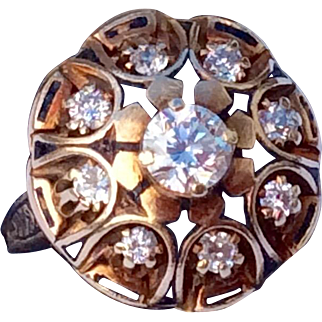Vintage 14 K Gold Round Cut & European Cut Diamond Black Enamel Dome Ring