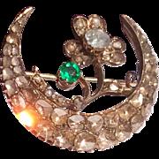 Fabulous Georgian 18 K Emerald & Diamond Crescent Brooch