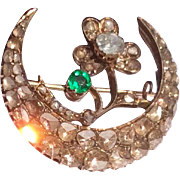 Fabulous Georgian 18 K Gold Emerald & Table Cut Diamond Crescent Floral Honeymoon Brooch
