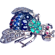 Fabulous Georgian Sterling Silver Diamond Sapphire Emerald Garnet Ruby Bee Brooch