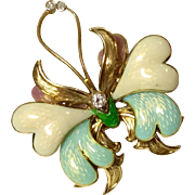 Tiffany & Co. Vintage 18 K Gold Diamond Enameled Butterfly Brooch