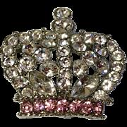 Vintage Silvertone Medal Rhinestone Crown Brooch