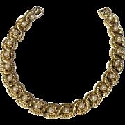 Vintage Gold Tone Metal Faux Pearl Bracelet