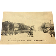 World War I Postcard American Troops In Parade - Paris - 4th July 1918