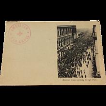 World War I Postcard American Troops Marching Through Paris