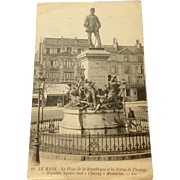 World War I Postcard Le Mans France Republic Square And A Chanzy Memorial