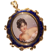 Exquisite Vintage Italian 18 K Gold Diamond Enameled & Handpainted Miniature Portrait Pin/Pendant