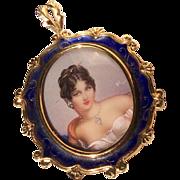 Exquisite Vintage Italian 18 K Gold Diamond Enameled & Handpainted Miniature Portrait Pin/Pendant