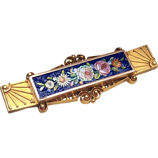 Antique 1880 18 K Gold Micro Mosaic Floral Brooch