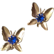 Vintage Gold Tone Metal Sapphire Blue Butterfly Earrings