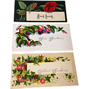 Set Of Three Victorian Calling Cards
