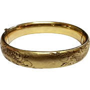 Vintage Gold Filled Satin Finish Hand Engraved Bangle Bracelet