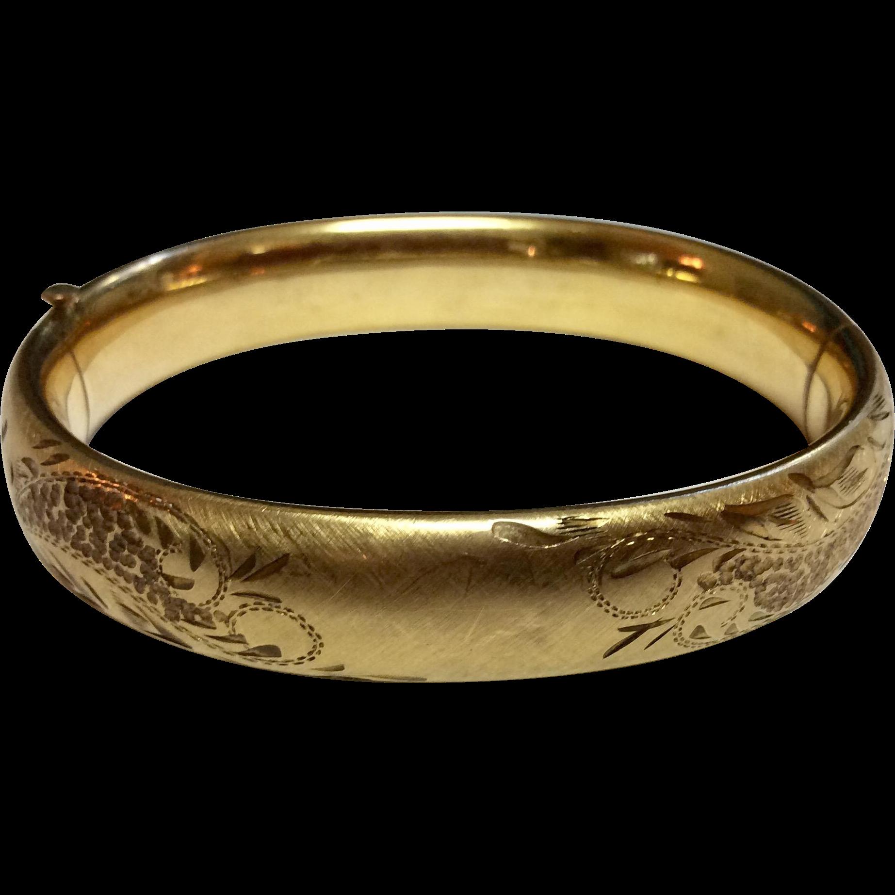Vintage Gold Filled Satin Finish Hand Engraved Bangle Bracelet