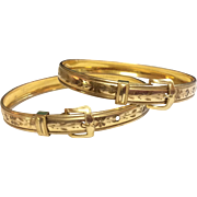 Wonderful Vintage Pair Gold Filled Buckle Bangle Wedding Bracelets