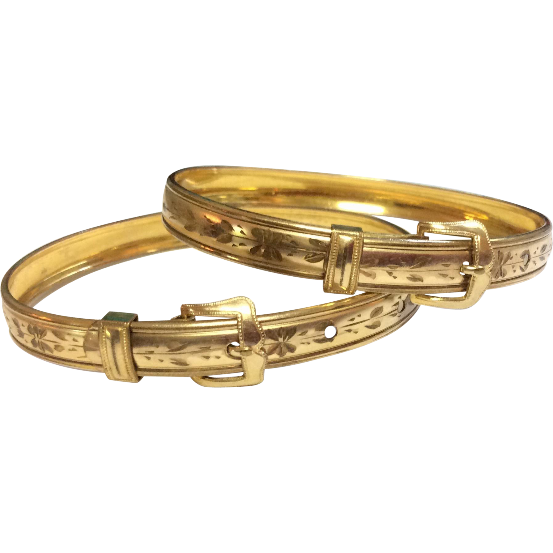 Wonderful Antique Victorian Pair Gold Filled Buckle Bangle Wedding Bracelets