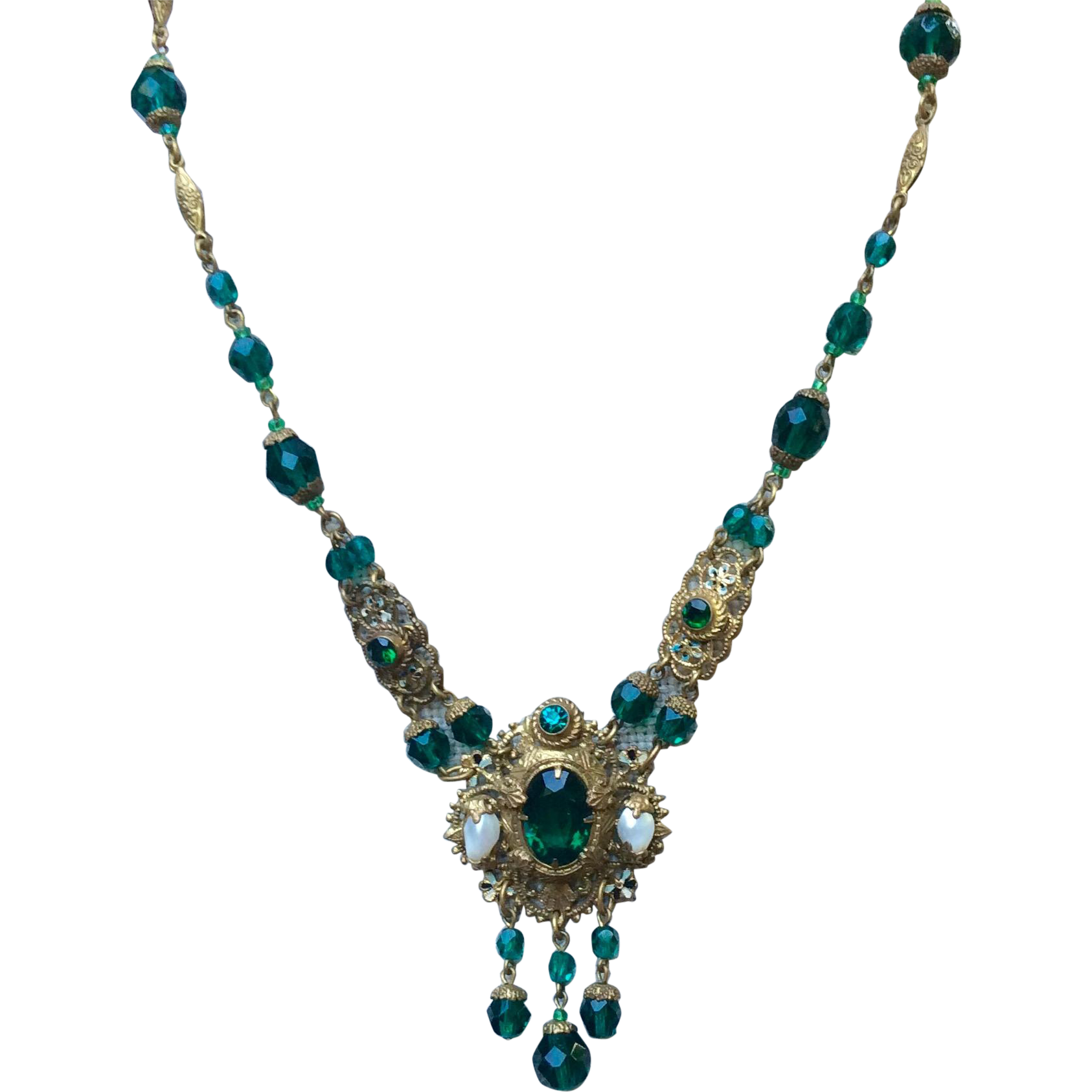 Fabulous Ornate Art Deco Czech Brass Dark Green Faceted Glass Bead & Pearl Necklace With Dangles