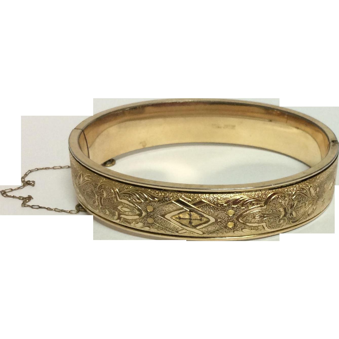 Vintage Simmons Gold Filled Hinged Bangle Bracelet