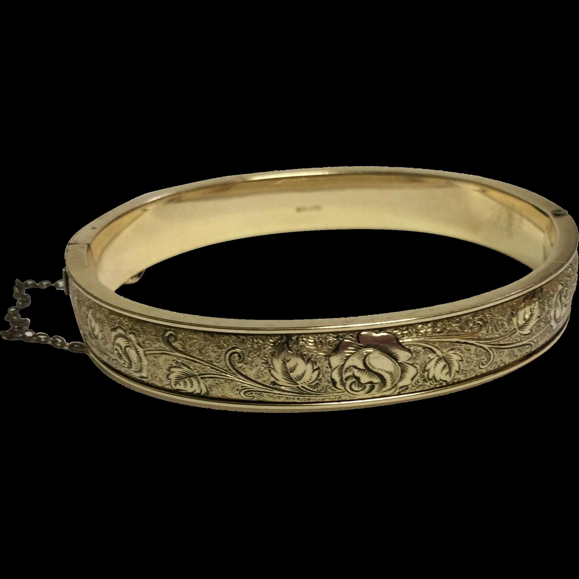 Vintage Winard 12 K Gold Filled Black Enameled Hinged Bangle Bracelet